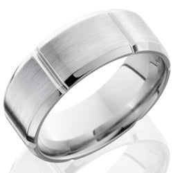 Style 103698: Cobalt Chrome 8mm Beveled Band with Segmented Pattern
