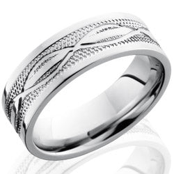 Style 103684: Cobalt Chrome 7mm Flat Band with Infinity and Knurl Pattern