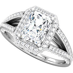 Style 102257: Split Shank Radiant Shaped Halo Engagement Ring With Round Diamonds