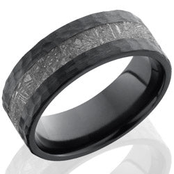 Style 103909: Zirconium 8mm Flat Band with 3mm Meteorite