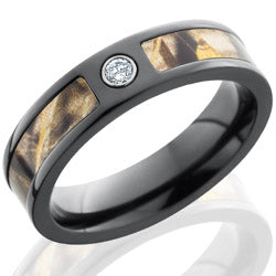Style 103949: Zirconium 5mm Flat Band with 3mm of Realtree Max4 Camo and Flush White Diamond.