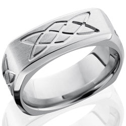 Style 103777: Cobalt Chrome 9mm Beveled Square Band with Celtic Knot