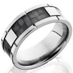 Style 103606: Titanium 8mm Flat Band with 4 segments of Carbon Fiber