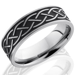 Style 103530: Titanium 7mm Flat Band with Antiqued Celtic Pattern