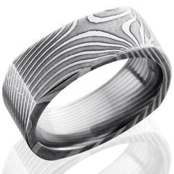 Style 103835: Flat Twist Patterned Damascus Steel 8mm Flat, Square Band