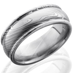 Style 103838: Damascus Steel 8mm Domed Band with Rounded Edges