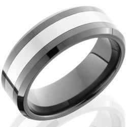 Style 103851: Ceramic and Tungsten 8mm Beveled Band