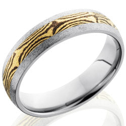 Style 103514: Titanium 6mm Domed Band with 18KY & Shakudo Mokume Band