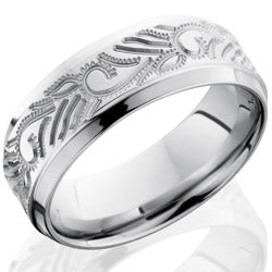 Style 103700: Cobalt Chrome 8mm Beveled Band with Vine Pattern