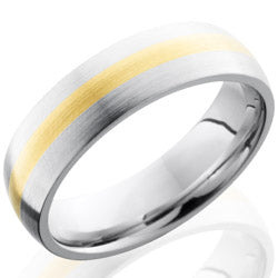 Style 103646: Cobalt Chrome 6mm Domed Band with 2mm 14KY