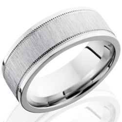 Style 103738: Cobalt Chrome 8mm Flat Band with Milgrain