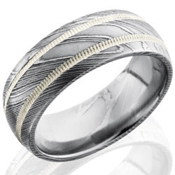 Style 103820: Damascus Steel 8mm Domed Band with 2mm Milgrained SS
