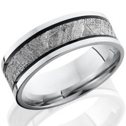 Style 103662: Cobalt Chrome 7.5mm flat band with 4mm meteorite and two antiqued grooves