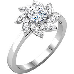 Style 102229: Flower Design Halo Engagement Ring With Diamonds
