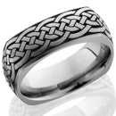 Style 103982: Titanium 8mm domed square band with laser carved celtic pattern