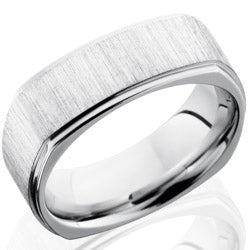 Style 103749: Cobalt Chrome 8mm Flat, Square Band with Grooved Edges