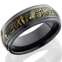Style 103902: Zirconium 8mm domed with grooved edges with 4mm Real Tree Max1 pattern
