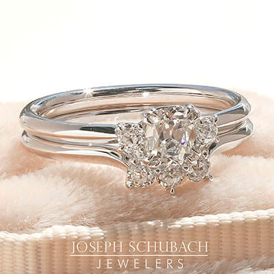 Style 103381: Old Mine Cut and Old European Lab Grown Diamond Three Stone Ring
