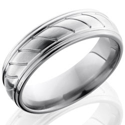 Style 103542: Titanium 7mm Domed Band with Rounded Edges and Striped Pattern