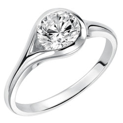 Style 102989: Modern Bezel Set Round Solitaire Engagement Ring With A Bypass Design