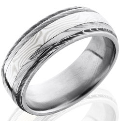 Style 103977: Damascus Steel 8mm Band with 3mm Sterling Silver and Palladium White Gold Mokume