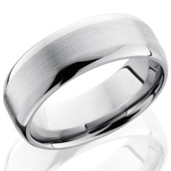 Style 103554: Titanium 8mm Domed Band with Flat Center