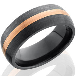 Style 103893: Zirconium 8mm Domed Band with 2mm 14KR