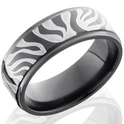 Style 103928: Zirconium 8mm Flat Band with Grooved Edges and Zebra Pattern