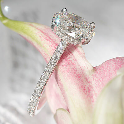 Style 103342: The Victoria Engagement Ring for Oval Center with Pavé Diamond Band and Under Bezel