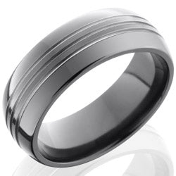 Style 103897: Zirconium 8mm Domed Band with three .5mm Grooves