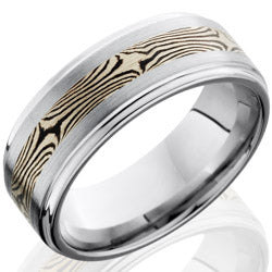 Style 103741: Cobalt Chrome 8mm Flat Band with Grooved Edges and 3mm Mokume Inlay