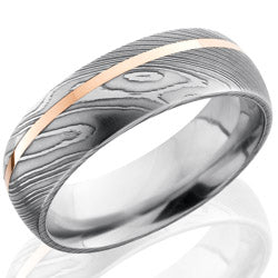 Style 103809: Damascus Steel 7mm Domed Band with 1mm 14KR