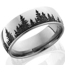 Style 103712: Cobalt Chrome 8mm domed band with laser carved Trees pattern