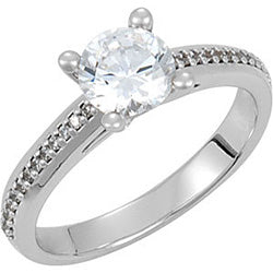 Style 102263: Round Four Prong Engagement Ring With Prong Set Diamonds