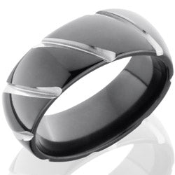 Style 103905: Zirconium 8mm Domed Band with Striped Pattern