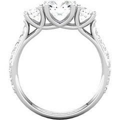 Style 102249-6.5mm: Round Three Stone Ring With Diamond Side Stones