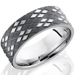 Style 103736: Cobalt Chrome 8mm Flat Band with Argyle Pattern