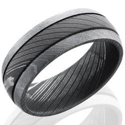 Style 103819: Damascus Steel 8mm Domed Band with Two .5mm Grooves