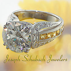 Style 4516M: Hand Made And Engraved Antique Style Ring With Yellow Sapphires And Pave' Diamonds