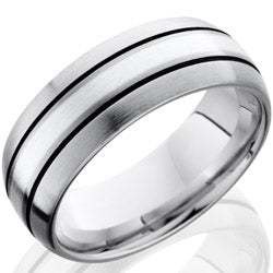 Style 103716: Cobalt Chrome 8mm Domed Band with 2mm SS