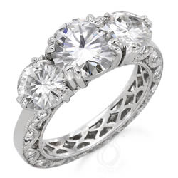 Style 8964M: Hand Made Three Stone Anniversary Ring With Pave' Diamonds