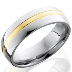 Style 103672: Cobalt Chrome 7mm Domed Band with 2mm 14KY