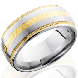 Style 103778: Cobalt Chrome 9mm Domed Band with 14KY Milgrained Inlays