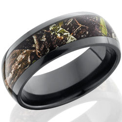 Style 103895: Zirconium 8mm domed band with 5mm Mossy Oak Obsession pattern