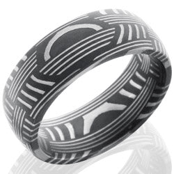 Style 103821: Basket Patterned Damascus Steel 8mm Domed Band