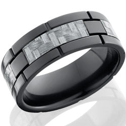 Style 103945: Zirconium 8mm flat band with 4 segments of Silver Carbon Fiber