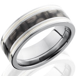 Style 103602: Titanium 8mm Flat Band with 3mm of Carbon Fiber and Milgrained SS Inlay