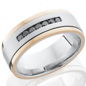 Style 103754: Cobalt Chrome 8mm flat band 14KR grooved edges seven channel set .04ct black diamonds
