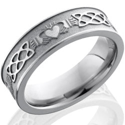 Style 103516: Titanium 6mm Flat Band with Claddagh Celtic Pattern
