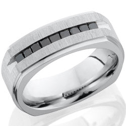 Style 103751: Cobalt Chrome 8mm square band with grooved edges and 9 channel set black diamonds